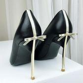 高跟鞋 【kiss me】真皮高跟鞋女細跟尖頭淺口單鞋蝴蝶結金屬跟宴會女鞋 韓菲兒