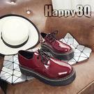 原宿漆皮縫線厚底綁帶學生女鞋-黑/紅35-39【AAA0106】預購