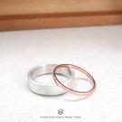 5mm質感戒-銀+細線戒-雙件組 純銀戒指(玫瑰金)