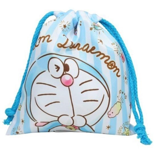 小禮堂 哆啦A夢 棉質束口袋 旅行收納袋 小物收納袋 縮口袋 (淡藍 直紋) 4930972-50736