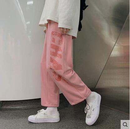 2020年新款秋冬季運動褲女寬鬆直筒闊腿顯瘦休閒鹽系軟妹粉色褲子