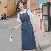 牛仔洋裝 法式牛仔背帶裙女夏2019新款修身高腰洋裝森女系背心裙