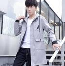 外套男 春秋季韓版 修身 薄款 夾克男士風衣服 中長款帥氣潮流