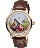 Ogival 愛其華 文藝復興彩繪機械腕錶-玫塊金框/40mm 1929-24.9AGR皮