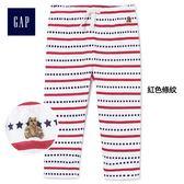 Gap男嬰兒 布萊納小熊刺繡星條圖案抽繩鬆緊腰長褲 336542-紅色條紋