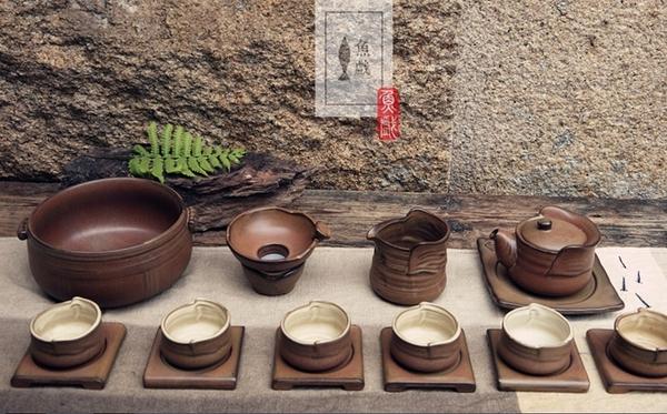 [協貿國際]粗陶茶具手工紫砂陶土茶杯陶瓷功夫茶盤整套