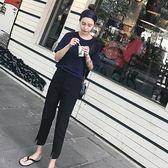 西裝褲女 韓版胖mm大尺碼寬鬆休閒褲 哈倫褲高腰九分開叉直筒褲 降價兩天
