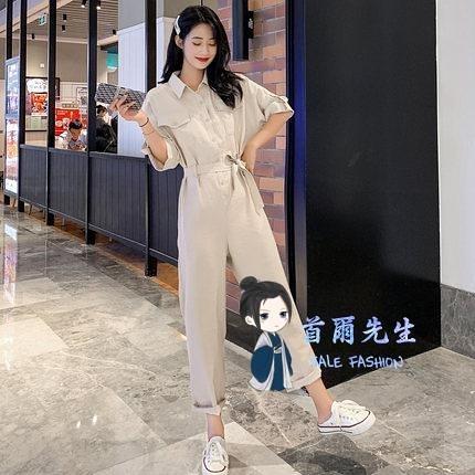 連身工裝 港風工裝連身褲套裝女夏裝2020年新款網紅高腰連衣褲氣質寬管長褲T