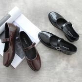 春季上新 簡約復古一字扣漆皮純色平底單鞋圓頭淺口低跟學院小皮鞋女鞋