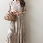 洋裝 春夏季純色圓領韓國寬鬆褶皺短袖連身裙chic長裙復古氣質垂感秋天 T恤裙