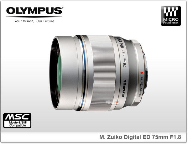 ★相機王★Olympus M. ZUIKO DIGITAL ED 75mm F1.8 銀色〔M4/3接環〕平行輸入