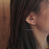 2對裝 歐美風復古后掛雙線鉤子耳釘百搭中性耳環耳釘【輕奢時代】