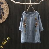 原創 復古刺繡條紋女裝圓領五分袖上衣套頭文藝棉麻女士T恤  K56