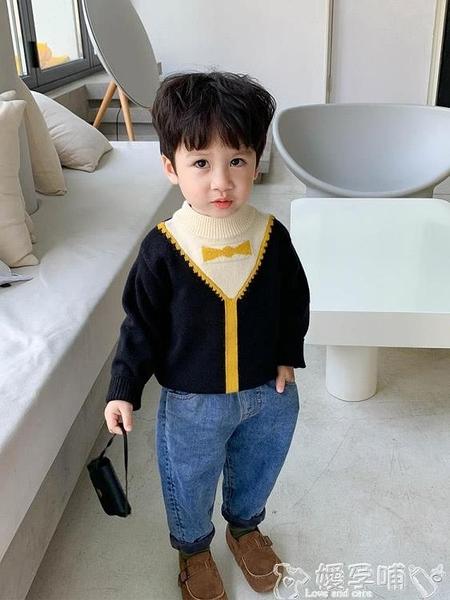 兒童針織上衣 男童毛衣套頭洋氣秋冬款嬰兒上衣寶寶冬裝韓版小童針織衫兒童線衣 嬡孕哺