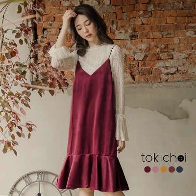 東京著衣-多色天鵝絨細肩帶魚尾洋裝-S.M(172262)