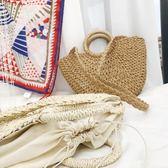 手提包 純手工草編包純色小元斗手提包夏天海邊沙灘度假包編織女包潮 京都3C