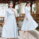 春季新款女裝文藝復古繡花抽繩系帶條紋立領中長洋裝連身裙洋裝 週年慶降價