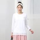 正韓 圓領蕾絲袖開叉擺T恤 (8682) 預購