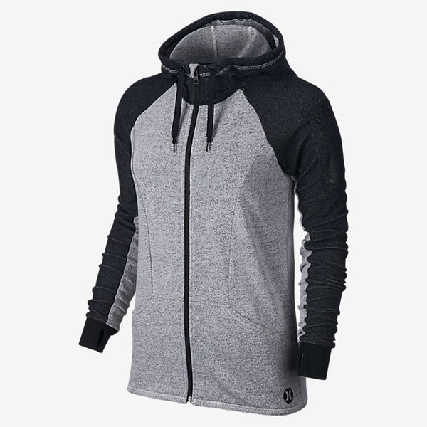 Hurley X NIKE DRI-FIT科技 - FLEECE ZIP UP HOODIE Beach Active連帽外套 -女(黑灰白)