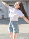 短褲牛仔短褲女2021歐美新款韓版高腰熱褲顯瘦闊腿夏季薄款寬鬆潮破洞嬡孕哺