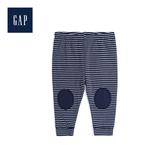 Gap男女嬰兒舒適拼貼抽繩鬆緊腰長褲494324-海軍藍色