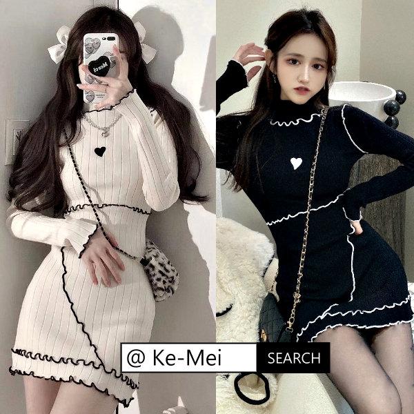 克妹Ke-Mei【ZT64720】sexy採購自留!電繡愛心顯胸針織連身洋裝