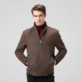 毛呢外套-羊毛純色立領休閒短款男大衣3色73pm17[巴黎精品】