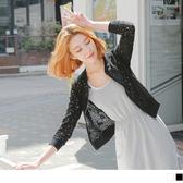 OB嚴選《EA1438-》素色蕾絲花鏤空羅紋領外套.2色--適 S~L