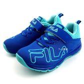 《7+1童鞋》FILA 魔鬼氈 炫彩電燈  輕量止滑  運動鞋  4222  藍色