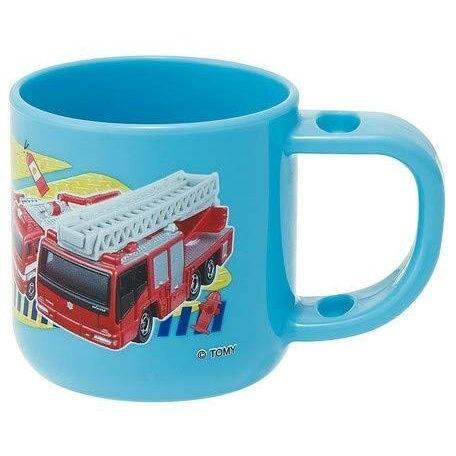 〔小禮堂〕TOMICA小汽車 日製單耳塑膠小水杯《藍紅.消防車》180ml.漱口杯.塑膠杯 4973307-47066