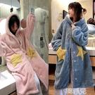 睡衣 睡衣女秋冬季連帽珊瑚絨加厚保暖睡裙睡袍法蘭絨孕婦加長款家居服 韓菲兒