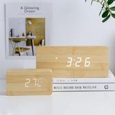 鬧鐘創意家居臥室客廳個性裝飾品木質學生床頭擺件現代簡約多功能鬧鐘 熱賣單品