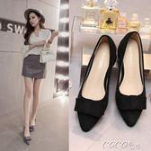 單鞋 新款單鞋女粗跟蝴蝶結尖頭工作鞋黑色中跟高跟鞋大碼女鞋    coco衣巷