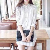 DE SHOP 韓版竪條中長款襯衫洋裝S/M/L(YU-7491)