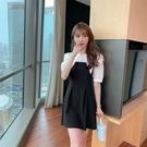 VK精品服飾 韓國風名媛優雅剪裁肩修身雪紡拼接短袖洋裝