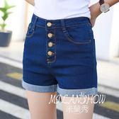 牛仔短褲女夏季韓版新款高腰排扣闊腿褲學生顯瘦卷邊彈力熱褲