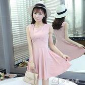 現貨出清夏季韓版修身顯瘦無袖背心打底短裙雪紡無袖洋裝女裝