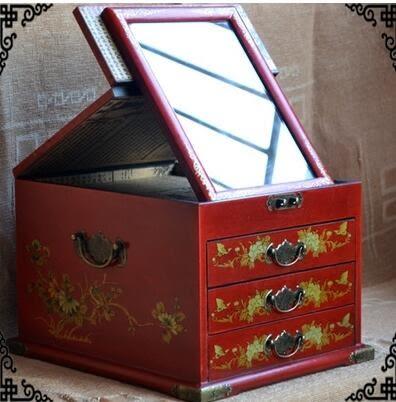 復古懷舊大號實木質梳妝盒歐式韓國公主首飾盒中式仿古首飾收納盒