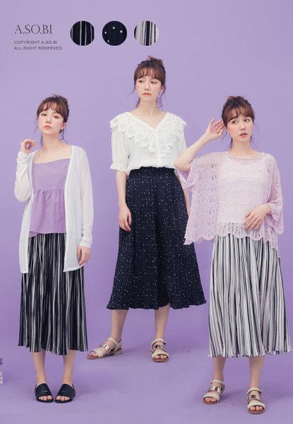 A-SO-BI韓系-粗細直條紋/點點百摺雪紡寬褲裙【R90846-14】