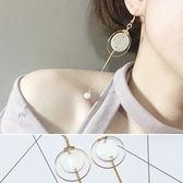 耳環圓形鏤空圓環鍊條珍珠氣質耳環【DD1608063 】icoca 09 28