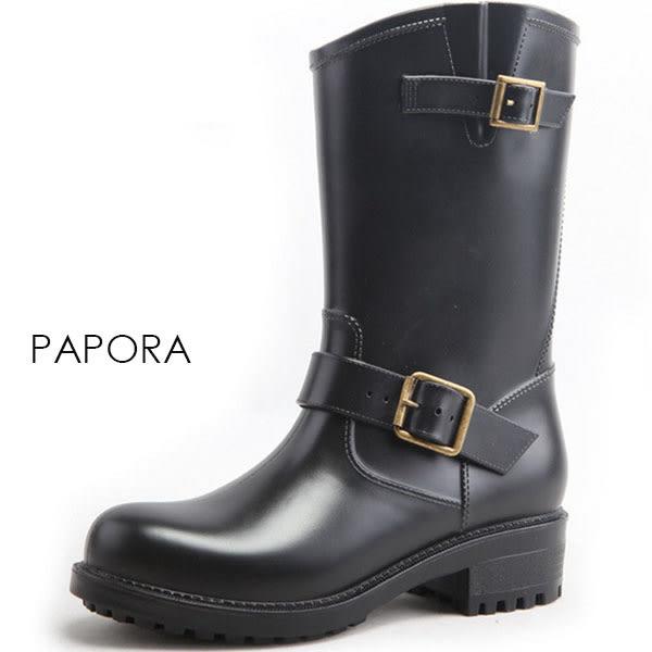 雨鞋.帥氣方釦俏皮防水雨鞋中筒雨靴【KY9266】黑(偏小)
