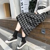 冬裙新款氣質半裙毛呢格子半身裙秋冬中長款女加厚長裙高腰包臀裙 【韓語空間】