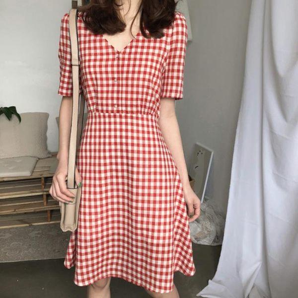 新款夏季韓版chic氣質格子V領洋裝短袖套頭中長款a字裙學生 全館免運