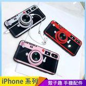 經典相機 iPhone iX i7 i8 i6 i6s plus 玻璃背板手機殼 氣囊伸縮 影片支架 耳機收納捲線器 防摔殼