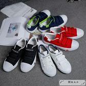 春季學生帆布鞋男鞋懶人板鞋子潮韓版情侶不系帶魔術貼百搭小白鞋