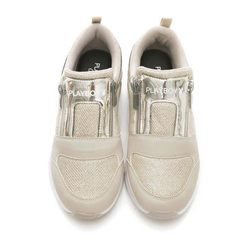 PLAYBOY 強勢推薦 亮蔥光感氣墊運動鞋-金(女)