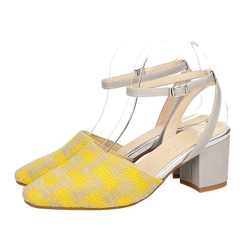 【ORiental TRaffic】知性微方頭瑪麗珍中跟鞋-格紋黃