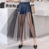 新款牛仔中大碼 短褲 磨破短褲女帶紗裙拼接假兩件加可拆卸兩穿的牛仔褲 YL95『bad boy時尚』
