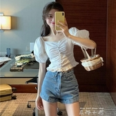設計感小眾宮廷v領短袖襯衫上衣雪紡短款白色襯衣夏季2020新款女 米娜小鋪