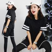 健身房跑步運動套裝女韓國寬鬆性感短袖瑜伽服春夏2018健身服女潮   初見居家